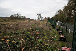 Wendover, UK. 9th April, 2021. A site alongside the A413 where trees are currently being felled for the HS2 high-speed rail link. Tree felling work for the project is now taking place at several locations between Great Missenden and Wendover in the Chilterns AONB, including at Jones Hill Wood.