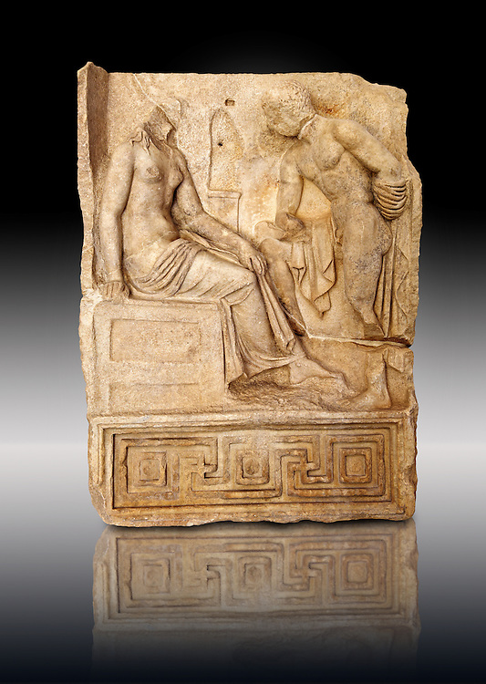 Photo of Roman relief sculpture, Aphrodisias, Turkey, Images of Roman art bas reliefs.  Unknown hero holding a sword gazes at an unknown young heroine. .<br /> <br /> If you prefer to buy from our ALAMY STOCK LIBRARY page at https://www.alamy.com/portfolio/paul-williams-funkystock/greco-roman-sculptures.html . Type -    Aphrodisias     - into LOWER SEARCH WITHIN GALLERY box - Refine search by adding a subject, place, background colour, museum etc.<br /> <br /> Visit our ROMAN WORLD PHOTO COLLECTIONS for more photos to download or buy as wall art prints https://funkystock.photoshelter.com/gallery-collection/The-Romans-Art-Artefacts-Antiquities-Historic-Sites-Pictures-Images/C0000r2uLJJo9_s0