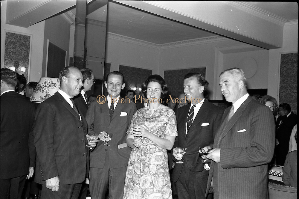 18/06/1963.06/18/1963.18 June 1963.Opening of Burroughs Business Efficiency Exhibition at the Royal Hibernian Hotel, Dublin. The exhibition displayed various models of Burroughs management machines. The highlight was the F4000 Electronic Accounting System - The Sensitronic..(l-r) Mr H. Atkinson, (Urwick Orr), Mr R.G. Duggan, (Managing Director, Duggan Insurances), Mrs.  Z. Mayes(Hayes?), Demonstrator, Mr Gordon Lambert, (Sales Director, W. and R. Jacob)and Mr. R.J. Buttimore,  Burroughs Service Manager for Ireland.
