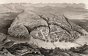 Crimean (Russo-Turkish) War 1853-1856.  Plan of the harbour and town of Sebastopol (Sevastopol). The retreat of the Russians and the fall of the town on 8 September 1856 brought to an end the Crimean War. Engraving c1860.