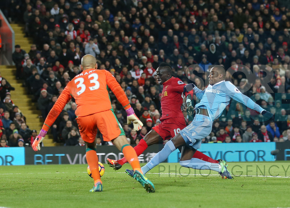 Liverpool's Sadio Mane scoring his sides third goal during the Premier League match at Anfield Stadium, Liverpool. Picture date December 27th, 2016 Pic David Klein/Sportimage