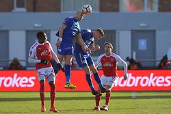 Leicester City's Yohan Benalouane wins a header
