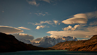 Sky, Clouds, and Mountains in Torres del Paine National Park. Image taken with a Fuji X-T1 camera and 23 mm f/1.4 lens.