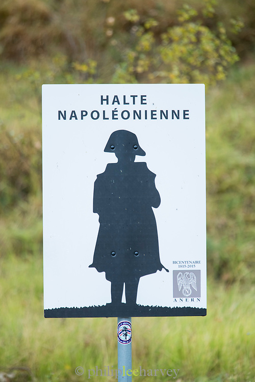 Road sign showing a place where Napoleon stopped on Route Napoleon road, Golfe-Juan to Grenoble, France.