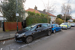 © Licensed to London News Pictures. 06/01/2020. London, UK. A tent and Police presence outside a house in Nowell Road, Barnes South West London after police discovered human remains at the address on Friday 3rd January 2020. A 17 year old youth has now been charged with murder following the discovery at the address in Nowell Road. Photo credit: Alex Lentati/LNP