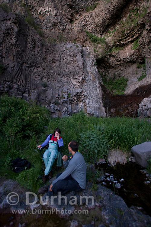 Forest Service Biologist Pat Ormsbee (left) converses with Humboldt University professor of bioacoustics Joe Szewczak while waiting for evening to fall for a bat survey in central Washington.