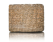 9th Cent BC Neo- Hittite basalt slabs with Hieroglyphic Inscriptions about the activities of King Urhilina & his son. from Hama, Syria. Istanbul Archaeological Museum...<br />  <br /> If you prefer to buy from our ALAMY STOCK LIBRARY page at https://www.alamy.com/portfolio/paul-williams-funkystock/hittite-art-antiquities.html  - Hama -   Anatolian Museum    - into the LOWER SEARCH WITHIN GALLERY box. Refine search by adding background colour, place, museum etc<br /> <br /> Visit our HITTITE PHOTO COLLECTIONS for more photos to download or buy as wall art prints https://funkystock.photoshelter.com/gallery-collection/The-Hittites-Art-Artefacts-Antiquities-Historic-Sites-Pictures-Images-of/C0000NUBSMhSc3Oo