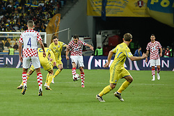 October 9, 2017 - Kiev, Ukraine - Ukraine's  Denys Garmash vies Croatia's Milan Badelj during the FIFA 2018 World Cup Group I Qualifier between Ukraine and Croatia at Kiev Olympic Stadium on October 9, 2017 in Kiev, Ukraine. Ukraine fail to reach the play-offs as they lose 2-0. (Credit Image: © Sergii Kharchenko/NurPhoto via ZUMA Press)