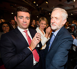 © Licensed to London News Pictures. 12/09/2015. London, UK. ANDY BURNHAM, JEREMY CORBYN and YVETTE COOPER after the announcement that JEREMY CORBYN is the new Labour Party leader. The announcement of the new leader of the Labour Party at the QEII centre in Westminster, London on September 12, 2015. Former leader ED Miliband resigned after a heavy defeat at the last election. Photo credit: Ben Cawthra/LNP