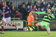 Forest Green Rovers Luke James(33) just fails to get on the end of a cross during the The FA Cup match between Forest Green Rovers and Exeter City at the New Lawn, Forest Green, United Kingdom on 2 December 2017. Photo by Shane Healey.