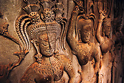 Apsaras carved by hand in stone, Angkor Wat temple, Siem Reap, Cambodia