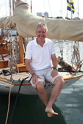 Griff Rhys Jones onboard his Classic Boat, Argyll, a 1946 Olin Stephens designed Bermudan Yawl - Herald  Magazine