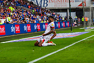 CELE Bournemouth midfielder Junior Stanislas (19) celebrates scoring the opening goal during the EFL Sky Bet Championship match between Cardiff City and Bournemouth at the Cardiff City Stadium, Cardiff, Wales on 18 September 2021.