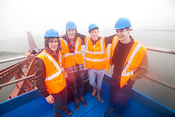 Bwani Junction, the Edinburgh based band, made music history by becoming the first group to played on the Forth Rail Bridge, they played on the highest point of the 122-year-old structure. l-r Dan Muir, Jack Fortheringham (drums), Rory Fairweather (singer) and Fergus Robson (bass)..©Michael Schofield.