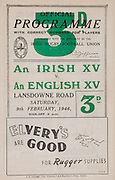 Irish Rugby Football Union, .An Irish xv v An English xv, Landsdowne Road, Dublin, Ireland, Saturday 9th February, 1946,  9.2.1946, 2.9.1946,..Referee- Mr R A Beattie, Scottish Rugby Union,..Irish Team, ..C Murphy, Wearing number 15 Irish jersey, Captain of the Irish team, Full Back, Landsdowne Rugby Football Club, Dublin, Ireland,..K O'Flanagan, Wearing number 14 Irish jersey, Right Wing, London Irish Rugby Football Club, Surrey, England,..G J Quinn, Wearing number 13 Irish jersey, Right Centre, Old Belvedere Rugby Football Club, Dublin, Ireland,..K Quinn, Wearing number 12 Irish jersey, Left Centre, Old Belvedere Rugby Football Club, Dublin, Ireland,..B Quinn, Wearing number 11 Irish jersey, Left Wing, Old Belvedere Rugby Football Club, Dublin, Ireland,.. J W Kyle, Wearing number 10 Irish jersey, Stand Off, Queen's University Rugby Football Club, Belfast, Northern Ireland,..D Thorpe, Wearing number 9 Irish jersey, Scrum, Old Belvedere Rugby Football Club, Dublin, Ireland, ..J Belton, Wearing number 8 Irish jersey, Forward, Old Belvedere Rugby Football Club, Dublin, Ireland,..C Mullen, Wearing number 7 Irish Jersey, Forward, Old Belvedere Rugby Football Club, Dublin, Ireland, ..M R Neely, Wearing number 6 Irish jersey, Forward, Royal Navy Rugby Football Club, Portsmouth, England,..C Callan, Wearing number 5 Irish jersey, Forward, Landsdowne Rugby Football Club, Dublin, Ireland, ..E Keeffe, Wearing number 4 Irish jersey, Forward, Sunday's Well Rugby Football Club, Cork, Ireland, ..J Guiney, Wearing  Number 3 Irish jersey, Forward, Bective Rangers Rugby Football Club, Dublin, Ireland, ..D B O'Loughlin, Wearing number 2 Irish jersey, Forward, Dolphin Rugby Football Club, Cork, Ireland,...D Hingerty, Wearing number 1 Irish jersey, Forward, Landsdowne Rugby Football Club, Dublin, Ireland, ..English Team, ..H Pateman, Wearing number 15 English jersey, Full back, Coventry Rugby Football Club, Coventry, England,..H F Greasley, Wearing number 11 English jersey, Left wing, C