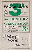 Rugby 1946-09/02 Rugby Union Irish XV Vs English XV