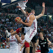 Turkey's Hidayet TURKOGLU (F) and Enes KANTER (L) during their Istanbul CUP 2011match played Turkey between New Zeland at Abdi Ipekci Arena in Istanbul, Turkey on 24 August 2011. Photo by TURKPIX