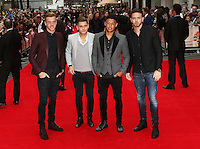 Arsenal footballers Calum Chambers (L) and Alex Oxlade-Chamberlain (2nd right), The Bad Education Movie - World Film Premiere, Leicester Square, London UK, 20 August 2015, Photo by Richard Goldschmidt