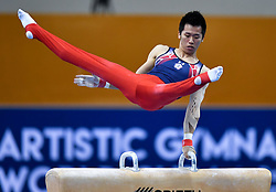 DOHA, March 24, 2018  Lee Chih Kai of Chinese Taipei competes during the Men's Pommel Horse final at the 11th FIG Artistic Gymnastics World Cup in Doha, Qatar, on March 23, 2018. Lee Chih Kai took the silver with 14.800 points.  wll) (Credit Image: © Nikku/Xinhua via ZUMA Wire)