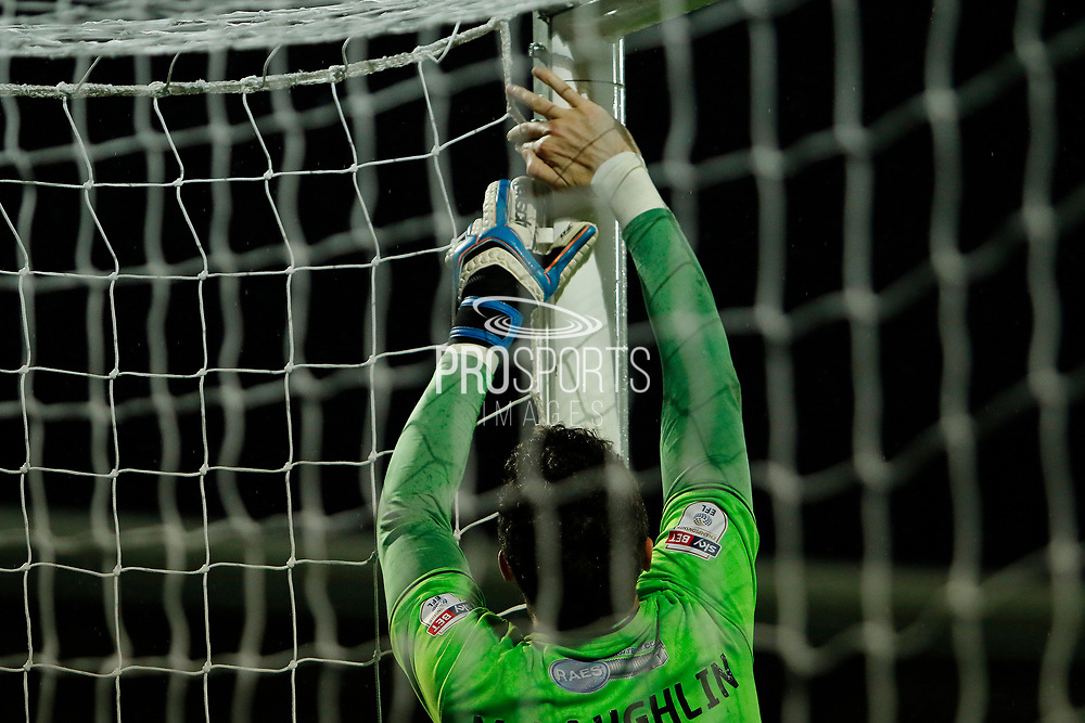 Burton Albion goalkeeper Jon McLaughlin (1) makes a repair to his goal's net during the EFL Sky Bet Championship match between Burton Albion and Ipswich Town at the Pirelli Stadium, Burton upon Trent, England on 14 April 2017. Photo by Richard Holmes.