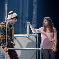 Picture Shows : Martin Quinn as Oskar and Rebecca Benson as Eli.<br /> <br /> Picture © Drew Farrell. Tel : 07721-735041<br /> Images offered on a speculative basis. Payment at all times.<br /> <br /> The full cast is: Rebecca Benson, Paul Thomas Hickey, Lorraine M McIntosh, Angus Miller, Cristian Ortega, Martin Quinn, Chris Reilly, Stuart Ryan, Ewan Stewart.<br /> Director John Tiffany and Steven Hoggett as Associate Director.<br /> <br /> UK premiere of Let The Right One In, presented by the National Theatre of Scotland, by arrangement with Marla Rubin Productions Ltd and Bill Kenwright, in association with Dundee Rep Theatre.<br /> Performances Dundee Rep Theatre  05/06/2013 - 29/06/2013 <br />  <br /> Tony and Olivier Award-winning director John Tiffany heads up a world-class creative team to bring the cult Swedish romantic horror film Let the Right One In to the Scottish stage. The cast features Deacon Blue and McIntoshRoss musician, Lorraine McIntosh and Dundonian actor Angus Miller, who will be making his professional theatrical debut in his home-town. <br />  <br /> John Tiffany will be working with Steven Hoggett as Associate Director. The two previously worked together on Black Watch (currently on tour in San Francisco) and The Bacchae for the National Theatre of Scotland and most recently on Once (winner of eight Tony awards and currently playing on Broadway and the West End).  <br />  <br /> The production will feature John and Steven's trademark high physicality and lyricism in the telling of this horror story and music by Icelandic composer Ólafur Arnalds, who recently created the score for the successful ITV detective series Broadchurch.<br />  <br /> The adaption of John Ajvide Lindqvist's novel and film is by Jack Thorne, one of the original creators and writers of hit Channel 4 show Skins, who in May last year, uniquely won writing BAFTAs for both The Fades and This Is England '88.<br />  <br /> John Ajvide Lindqvist's original 2004 novel Let the Right One In and Tomas Alfredson's (Director of Tinker, Tailor, Soldier,Spy)  subsequent 2008 film of the same name