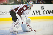 DALLAS, TX - SEPTEMBER 26:  Semyon Varlamov #1 of the Colorado Avalanche looks on against the Dallas Stars in an NHL preseason game on September 26, 2013 at the American Airlines Center in Dallas, Texas.  (Photo by Cooper Neill/Getty Images) *** Local Caption *** Semyon Varlamov