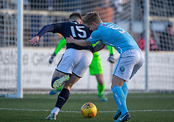 Forfar Athletic's Michael Travis holds back Raith Rovers Kevin Nisbet. Forfar Athletic 3 v 2 Raith Rovers, Scottish Football League Division One played 27/10/2018 at Forfar Athletic's home ground, Station Park, Forfar.