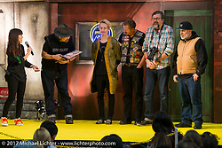 Jeff Decker and Giuseppe Roncen give their award to Blue Groove's Takemitsu Taka Yashiro at the 26th Annual Yokohama Hot Rod and Custom Show 2017. Yokohama, Japan. Sunday December 3, 2017. Photography ©2017 Michael Lichter.