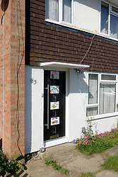NHS thank you posters on front door of house during Coronavirus lockdown, Reading UK May 2020