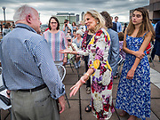 28 JUNE 2019 - DES MOINES, IOWA: Dr. JILL BIDEN, center, and her granddaughter, NATALIE BIDEN, right, greet voters at the State Historical Museum of Iowa. Dr. Biden was in Des Moines Friday to campaign for her husband, former Vice President Joe Biden. Vice President Biden, who was Vice President for 8 years during the Obama administration, is one of the Democratic front runners for the Presidency. Iowa traditionally hosts the the first selection event of the presidential election cycle. The Iowa Caucuses will be on Feb. 3, 2020.              PHOTO BY JACK KURTZ