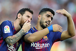 August 7, 2017 - Barcelona, Spain - Lionel Messi and Luis Suarez of FC Barcelona look on ahead of  the 2017 Joan Gamper Trophy football match between FC Barcelona and Chapecoense on August 7, 2017 at Camp Nou stadium in Barcelona, Spain. (Credit Image: © Manuel Blondeau via ZUMA Wire)