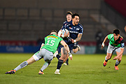 Sale Sharks wing Denny Solomona makes a break through the Harlequins defence during a Gallagher Premiership match won by Sale Sharks 27-17 at the AJ Bell Stadium, Eccles, Greater Manchester, United Kingdom, Friday, April 5, 2019. (Steve Flynn/Image of Sport)