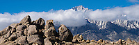 Summit of Lone Pine Peak and granite boulder formations typical of the Alabama Hills, California