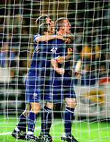 Fotball<br /> England<br /> Wayne Rooney<br /> Foto: Colorsport/Digitalsport<br /> NORWAY ONLY<br /> <br /> Wayne Rooney (Everton) celebrates his goal with Tomasz Radzinski and Gary Naysmith. Charlton Athletic v Everton 26/8/03