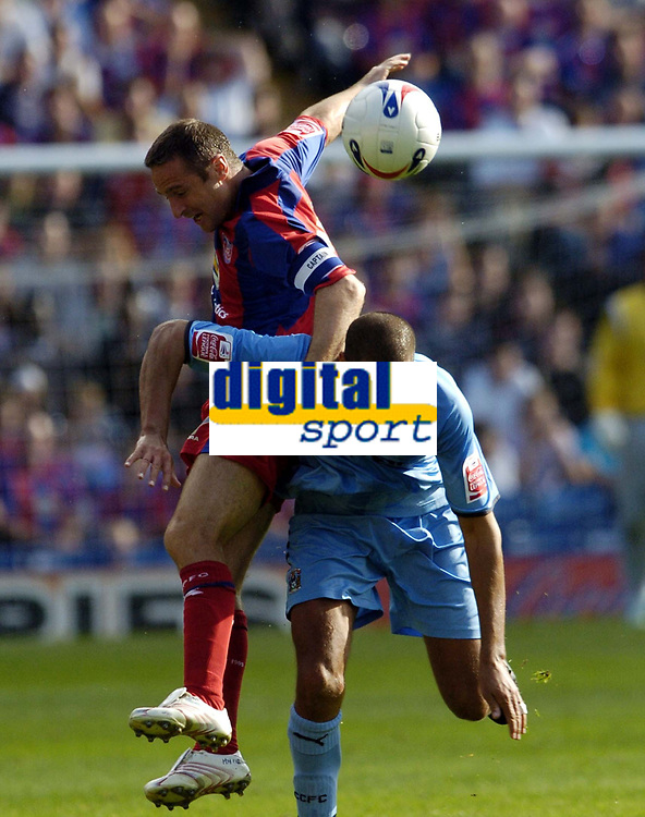 Photo: Olly Greenwood.<br />Crystal Palace v Coventry City. Coca Cola Championship. 23/09/2006. Palace's Michael Hughes and Coventry's Marcus Hall.