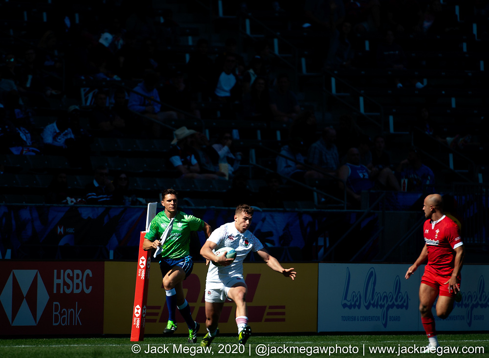 M10 - England and Wales compete in the group stages of the 2020 Los Angeles Sevens at Dignity Sports Health Park in Los Angeles, California. February 29, 2019. <br /> <br /> © Jack Megaw, 2020