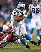 CHARLOTTE, NC - JAN 24:  Running back Jonathan Stewart #28 of the Carolina Panthers runs during the NFC Championship game against the Arizona Cardinals at Bank of America Stadium on January 24, 2016 in Charlotte, North Carolina.