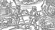 Illustration for February for  Edmund Spenser's poem  'The Shepherd's Calendar', 1597. Woodcut.