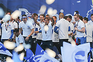 Brighton & Hove Albion winger Anthony Knockaert (11) celebrates on stage during the Brighton & Hove Albion Football Club Promotion Parade at Brighton Seafront, Brighton, United Kingdom on 14 May 2017. Photo by Phil Duncan.