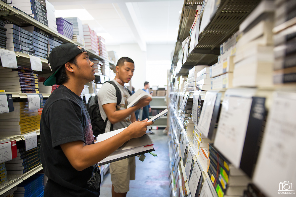 Students shop for books in the new Spartan Bookstore during the first day of classes at San Jose State University in San Jose, California, on August 25, 2014. (Stan Olszewski/SOSKIphoto)