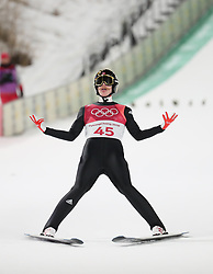 PYEONGCHANG, Feb. 10, 2018  Norway's Robert Johansson celebrates after a jump during men's normal hill individual event of ski jumping at 2018 PyeongChang Winter Olympic Games at Alpensia Ski Jumping Center, PyeongChang, South Korea, Feb. 10, 2018. Robert titled third of the event with 249.7 points. (Credit Image: © Li Gang/Xinhua via ZUMA Wire)