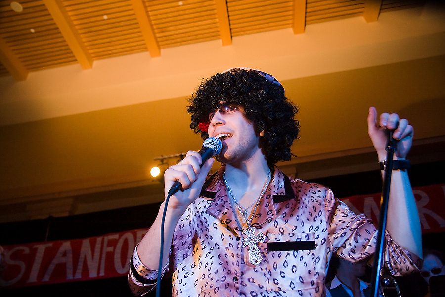 Jimmy Delgadillo, singer for the Stanford student band TGIFunk, addresses the crowd at Dance Marathon, a 24 hour fundraiser for AIDS and global health that raised over $110,000 on February 16, 2008.