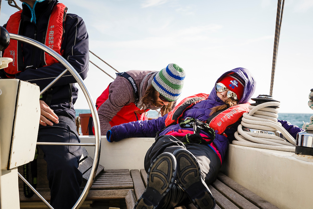 Josie White catches up on some zzz's while on the Anne-Margaretha sail boat.