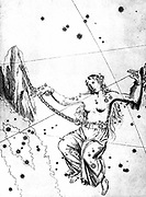 Constellation of Andromeda from Johannes Bayer 'Uranometria' Ulm 1723.  Andromeda chained to rocks waiting for rescue by Perseus. Copperplate engraving