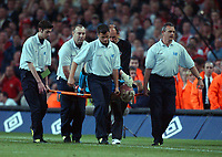 Southampton Goalkeeper Antti Niemie is carried off injured. Arsenal v Southampton, FA Cup Final, Millennium Stadium, Cardiff 17/05/2003. Credit: Colorsport / Matthew Impey DIGITAL FILE ONLY