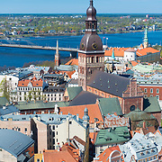 View of Riga from St Peter's Church  with Dome Cathedral and the Stone bridge, Riga, Latvia