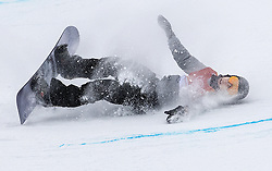 February 14, 2018 - Pyeongchang, South Korea - JAN SCHERRER of Switzerland crashes during a run in the Men's Half Pipe Snowboard finals at Phoenix Park in South Korea, during the Pyeongchang Winter Olympics. (Credit Image: © Carlos Gonzalez/TNS via ZUMA Wire)