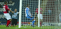 Photo. Aidan Ellis.Digitalsport<br /> Blackburn Rovers v Bournemouth<br /> Carling Cup 2nd round.<br /> 22/09/2004.<br /> Blackburn's Brett Emerton scores the first goal