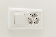 Interior home, light switch and electrical outlet