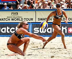 06-08-2011 VOLLEYBAL: FIVB WORLD TOUR GRANDSLAM: KLAGENFURT<br /> Marleen Van Iersel und Sanne Keizer (NED)<br /> ©2011-FotoHoogendoorn.nl / Erwin Scheriau